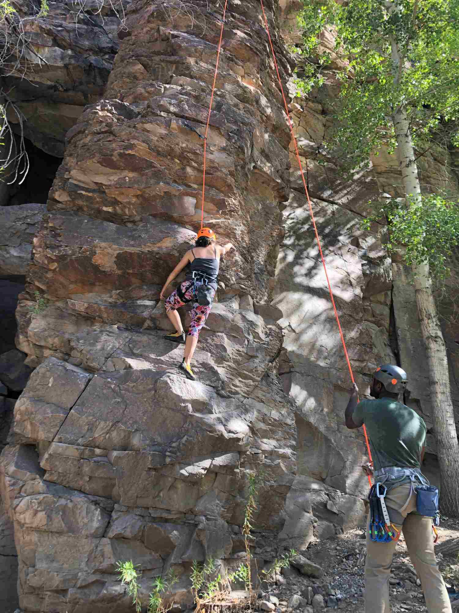 Climbing on top rope on New Kids on the Block, Percha Creek