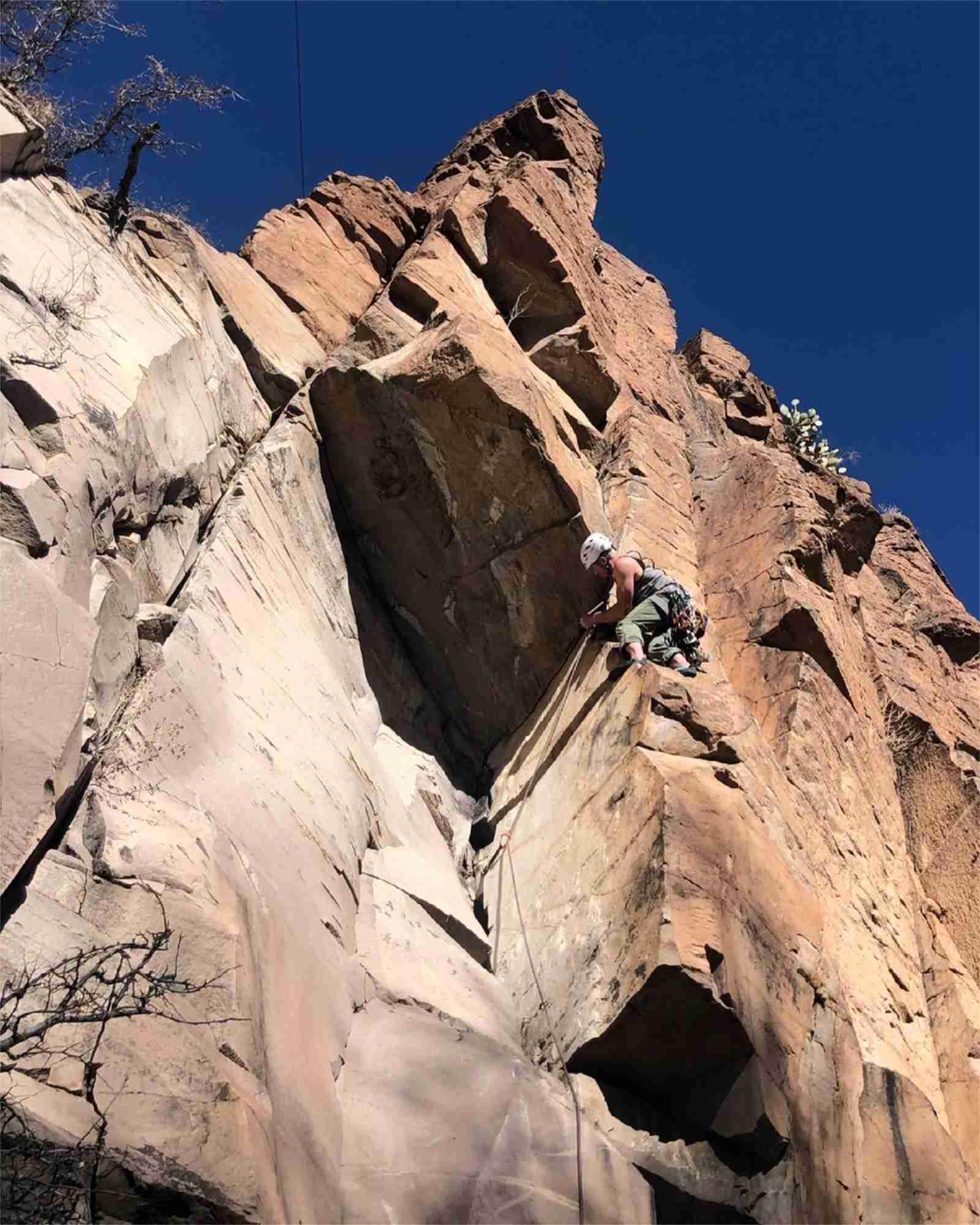 Lead climbing on Barbershop Cafe in Percha Creek