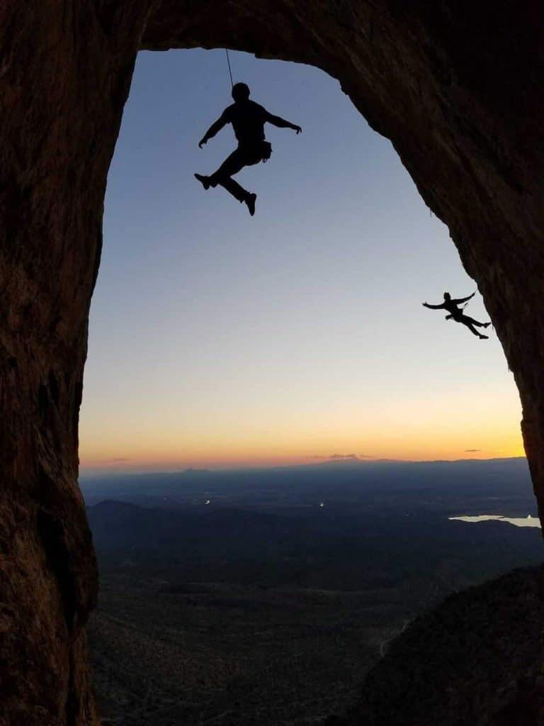 expert rock climbers at the Caballo Bat Cave; photo courtesy of Derek Jarner & Clark Smith