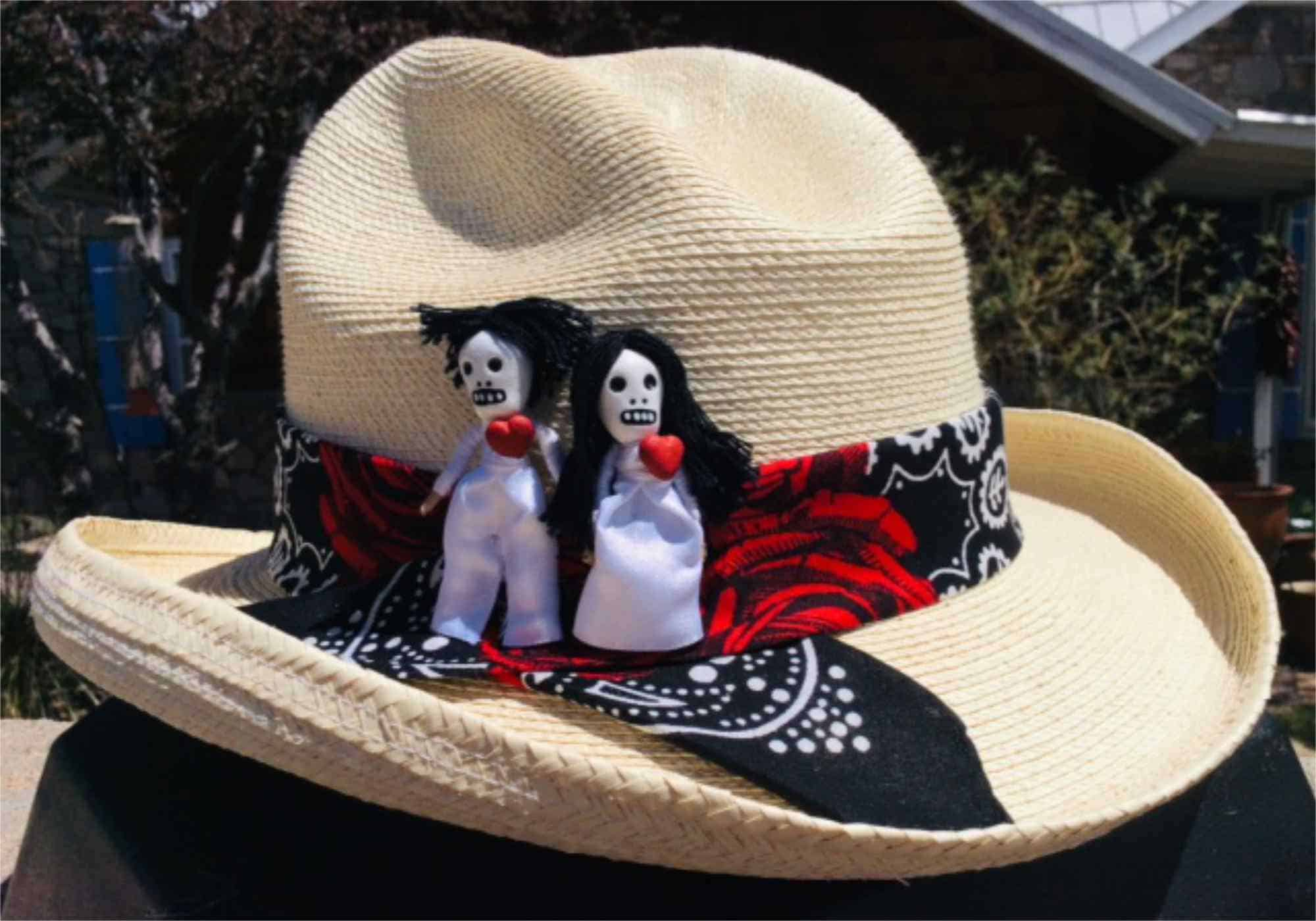 cowboy catcher hat with day of the dead bandby Buffalo Belle Millinery