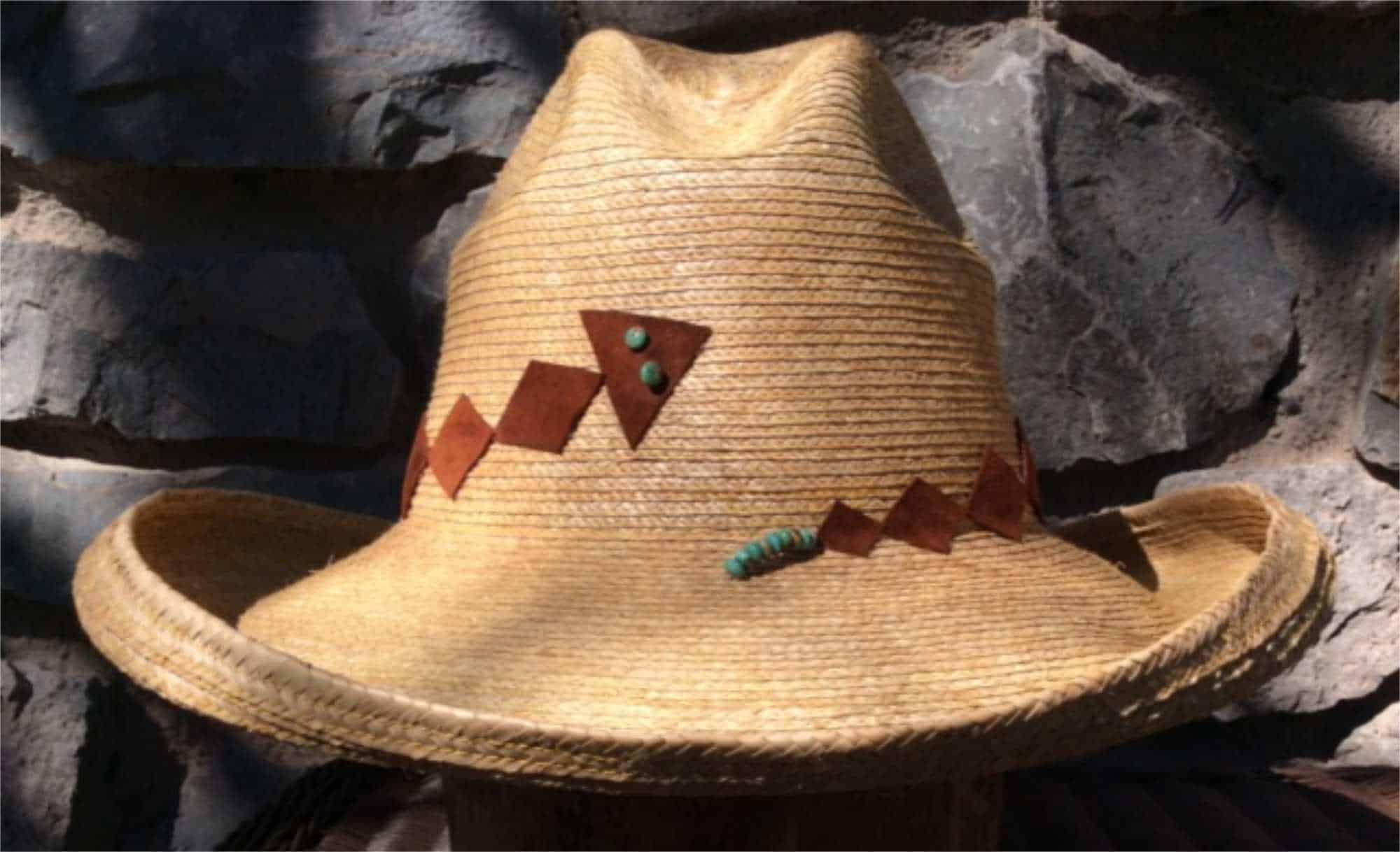 dewcatcher hat with suede & turquoise wraparound snake