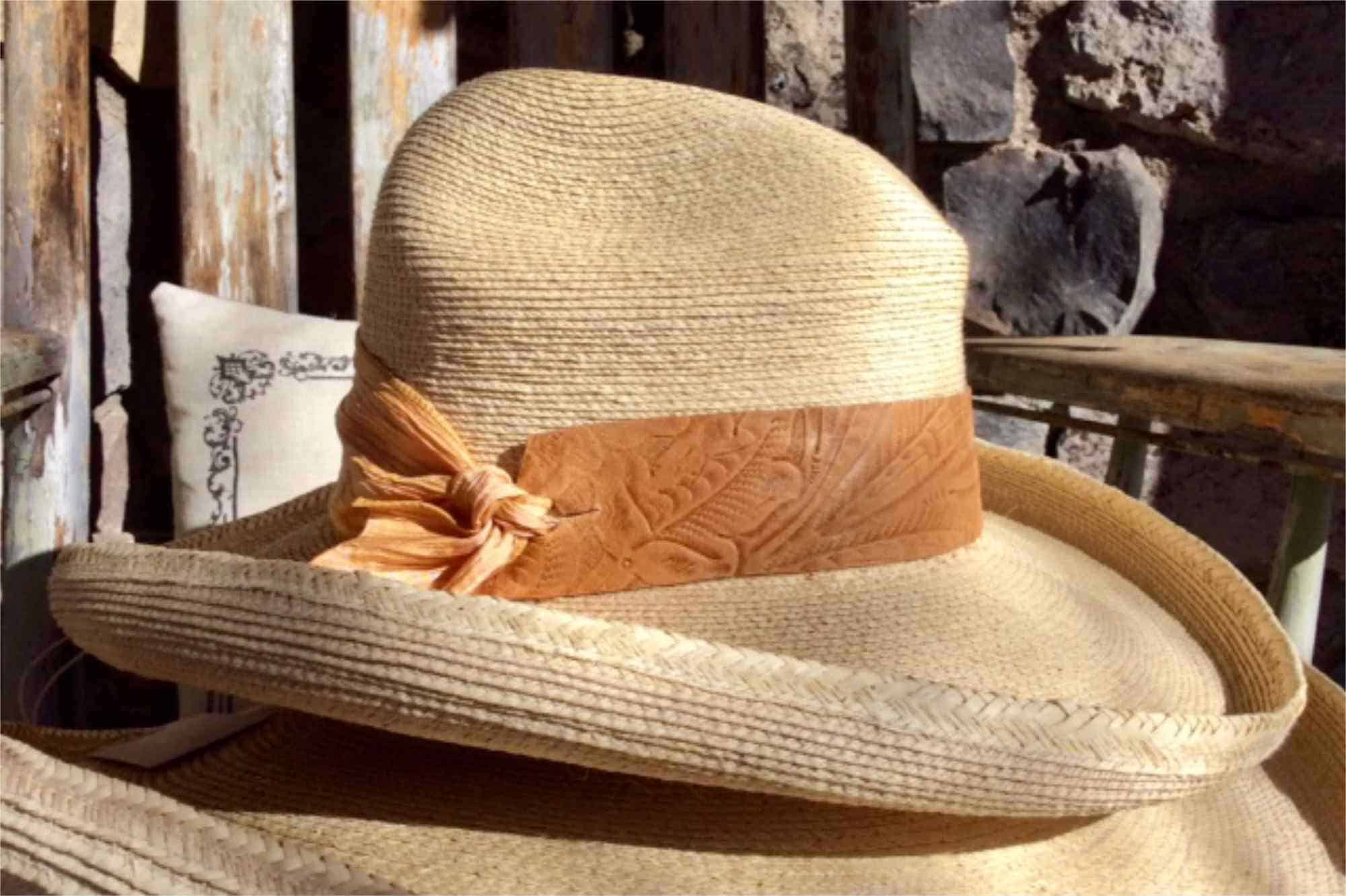 raincatcher hat with tooled leather band by Buffalo Belle Millinery