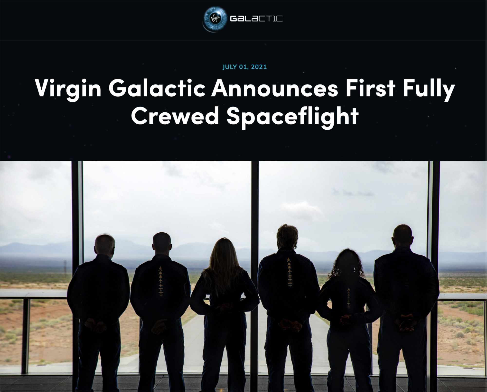 First Fully Crewed Virgin Galactic Space Flight
