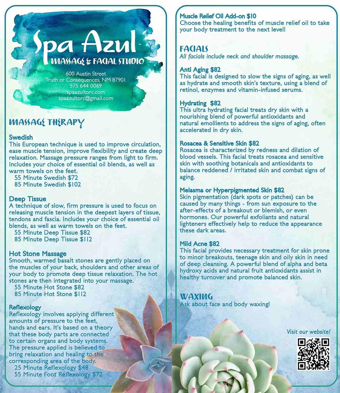 spa azul menu of services